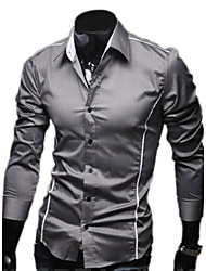 Duolunduo Men's Slim Personality Casual Flanger Long Sleeve Shirt (Gray)