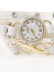 ouso u mulheres pulseira de couro do vintage relógios de strass cristal