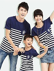 Family's Stripe Han Edition Short Sleeves T-shift Parentage Clothes