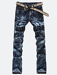 Hombres Moda Tiger Print Denim Jeans Pantalones