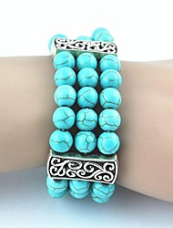 Toonykelly ® Vintage Antique Silver Turquoise Bracelet élastique (vert) (1 PC)