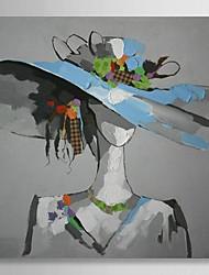 la gente la pintura al óleo pintada a mano hermosa chica con sombrero azul con el marco estirado