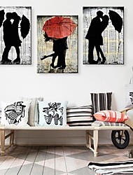 Stretched Canvas Art The Lover In The Rain  Set of 3