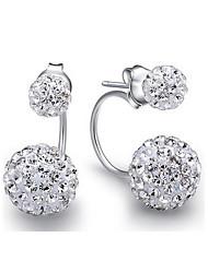 pendientes plateados puros con diamantes de imitación austriaco