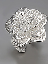MISS U Women's Silver Three Layers Flower Ring