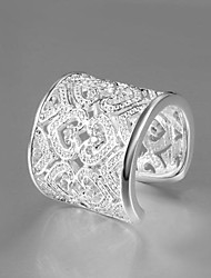 Lucky Doll Women's Vintage 925 Silver Printing Zircon Ring