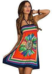 vestito alla moda delle donne a fascia senza spalline con stampa floreale