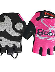 boodun bicicleta rosa malha respirável luvas de dedos curtos femininos