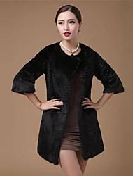 Zijindiao ® Damen Original Rabbit Fur Coat mit Taschen