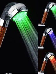 Color Changing LED Hand Shower Chrome Finish Negative Ion Temperature Color