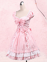 One-Piece/Dress Sweet Lolita Princess Cosplay Lolita Dress Bowknot Short Sleeve Medium Length Dress For Cotton