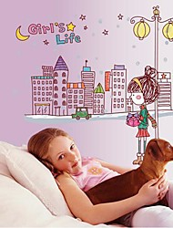 Doudouwo®  People The Lovely Girl's Life Wall Stickers