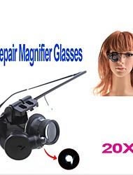 ZW-9882-2 Eyewear Style singolo 20X Lente di ingrandimento con luce bianca LED (2 x CR1620)