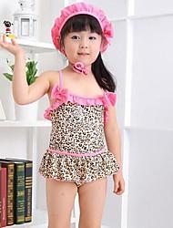 Girl's Leopard Bikini Swimwear +Swimming Cap