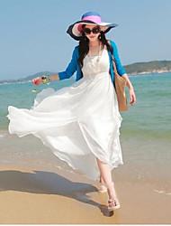 Sin mangas de gasa con cuello en V Gypsy Hippie Beach del verano maxi largo vestido irregular de la Mujer (5 colores)