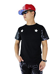 Men's O-Neck Pu Leather Sleeve T-shirts Hip Hop Rock Rap Funny