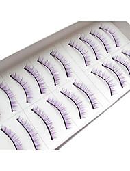 10Pairs Natural Looking Handmade Purple Lengthening  Microfiber False Eyelashes