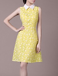 Women's Yellow Dress , Party Sleeveless