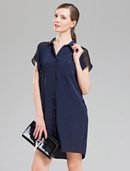 Women's Casual/Daily Loose Dress,Solid Shirt Collar Above Knee Sleeveless Blue / Red / Orange Silk Summer