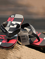 Quiksilver Men's Beach Sports Plaid Pattern Black+Red Flip Flops BG005