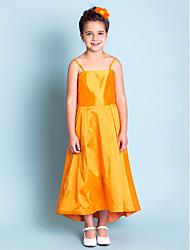 Knee-length Taffeta Junior Bridesmaid Dress - Orange A-line / Princess Strapless