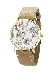 Women's Flower Pattern Golden Case PU Band Quartz Analog Wrist Watch (Beige) Cool Watches Unique Watches
