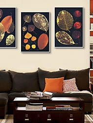 Abstract Leaves Decoration Framed Canvas Print Set of 3