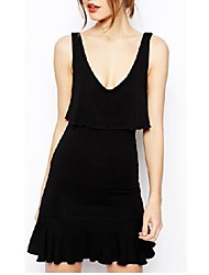 Women's Solid Black Dress , Sexy/Bodycon/Casual Deep V Sleeveless