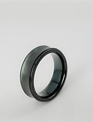 Vintage Men's Black Concave Titanium Steel Rings Christmas Gifts