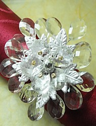 Leaf Crystal Beads Flower In Multi Color Napkin Ring,Acrylic Beades, 3.5CM, Set of 12,