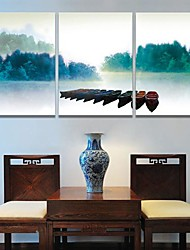 Stretched Canvas Art The Scenery of Boats In The River Set of 3