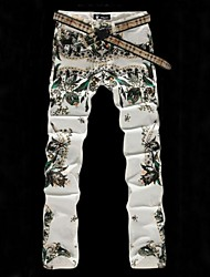 Men's Colored Drawing Flower Print White Denim Jeans