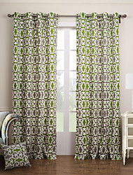 Modern Two Panels Floral  Botanical Green Bedroom Cotton Panel Curtains Drapes