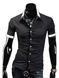 VSKA Men's Double Lapel Short Sleeve Black Shirt