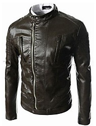 Men's Long Sleeve Casual Jacket,PU Solid Black / Brown