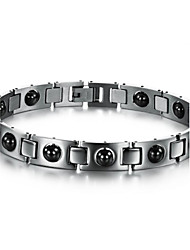 Black Gallstone Anti-fatigue Anti-radiation Titanium Steel Health Care Bracelet for Men Christmas Gifts