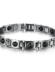 calcul biliaire noir anti-fatigue anti-rayonnement bracelet de soins de santé en acier de titane pour les hommes