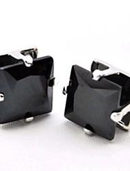Men's Square Rhinestone Magnet Cilp Earrings