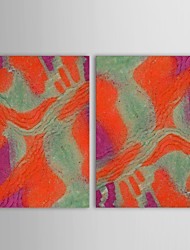 Hand Painted Oil Painting Abstract Red with Stretched Frame Set of 2