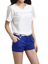 Women's Beading V-Neck Hollow Out Short Sleeve T-Shirt
