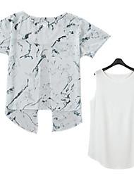Camiseta/Camisa ( Chifon/Elastano/Poliéster ) Sexy/Praia/Casual/Festa - Fina/Leve Transparência - Padrão