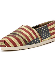 Yasafant Women Canvas Shoes Fashion USA National Flag Flat Shoes