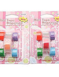 Colorful Adhesive Tapes with Dispenser Storage Case Set (Random Color,2-Pack)