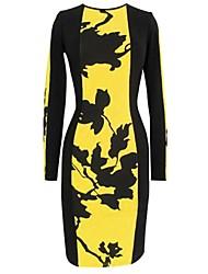 Delle Mingfan Donna girocollo Stampa semplici Sexy manica lunga aderente Midi Dress