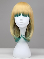 Women Yellow and Green Short Straight Synthetic Gothic Lolita Wig