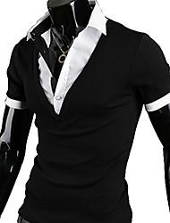 Yess British Fake 2 In 1 Slim Short Sleeve T-Shirt(Black,Gray,White)