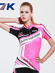 MYSENLAN Women's Breathable Polyester Pink Short Sleeve Cycling Suit