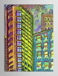 IARTS®Hand Painted Oil Painting Landscape Modern City Constructions with Stretched Frame