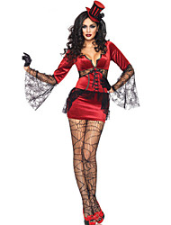 Verführerische Vampire Wine Red Polyester Frauen Halloween-Kostüm mit schwarzer Spitze