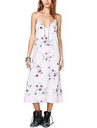 Vrouwen Retro nam Patroon Witte lange jurk